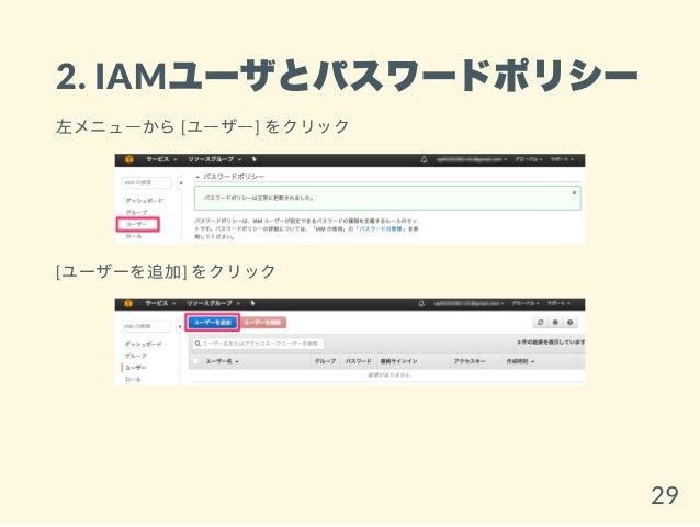 2. IAMユーザとパスワードポリシー 左メニューから[ユーザー] をクリック [ユーザーを追加] をクリック 29
