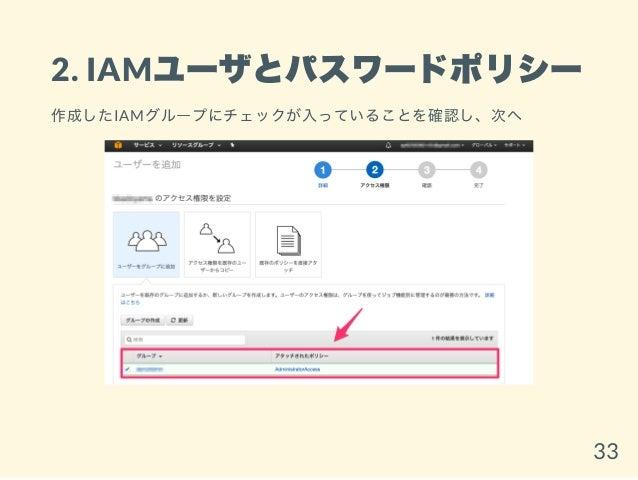 2. IAMユーザとパスワードポリシー 作成したIAMグループにチェックが入っていることを確認し、次へ 33