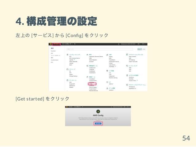 4. 構成管理の設定 左上の[サービス] から[Con g] をクリック [Get started] をクリック 54
