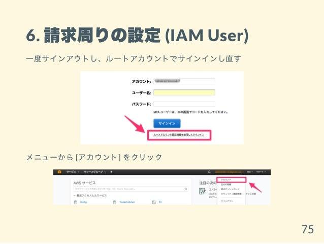 6. 請求周りの設定(IAM User) 一度サインアウトし、ルートアカウントでサインインし直す メニューから[アカウント] をクリック 75