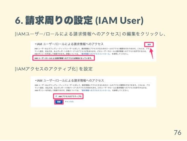 6. 請求周りの設定(IAM User) [IAMユーザー/ロールによる請求情報へのアクセス] の編集をクリックし、 [IAMアクセスのアクティブ化] を設定 76