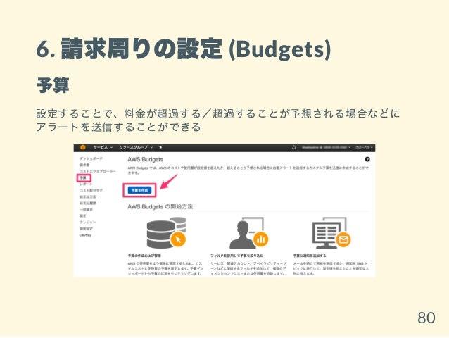 6. 請求周りの設定(Budgets) 予算 設定することで、料金が超過する/超過することが予想される場合などに アラートを送信することができる 80