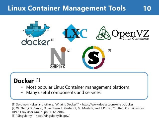Docker [1] • Most popular Linux Container management platform • Many useful components and services Linux Container Manage...