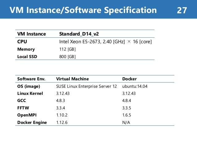 VM Instance/Software Specification 27 Software Env. Virtual Machine Docker OS (image) SUSE Linux Enterprise Server 12 ubun...