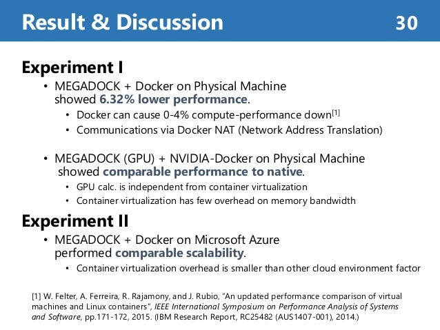 Experiment I • MEGADOCK + Docker on Physical Machine showed 6.32% lower performance. • Docker can cause 0-4% compute-perfo...
