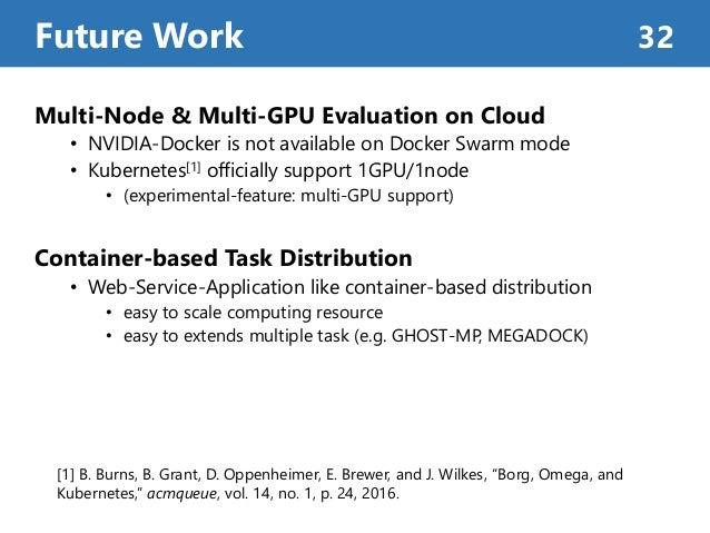 Multi-Node & Multi-GPU Evaluation on Cloud • NVIDIA-Docker is not available on Docker Swarm mode • Kubernetes[1] officiall...