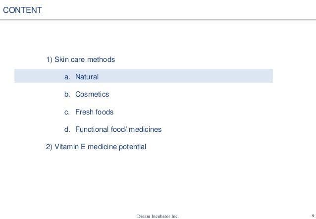 9 1) Skin care methods a. Natural b. Cosmetics c. Fresh foods d. Functional food/ medicines 2) Vitamin E medicine potentia...