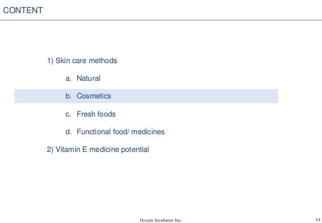 13 1) Skin care methods a. Natural b. Cosmetics c. Fresh foods d. Functional food/ medicines 2) Vitamin E medicine potenti...