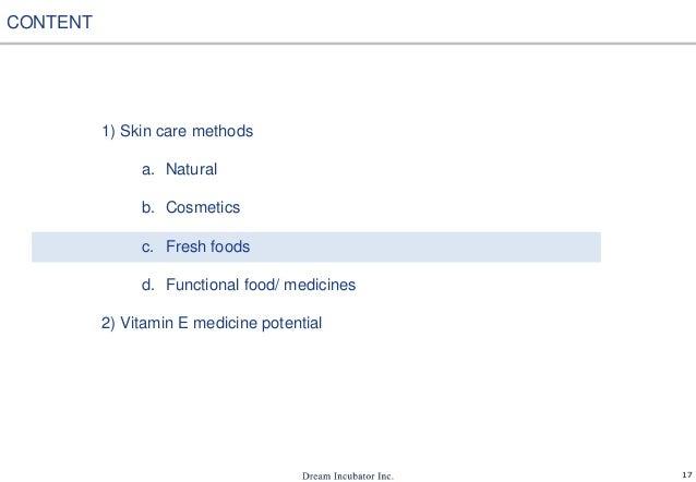 17 1) Skin care methods a. Natural b. Cosmetics c. Fresh foods d. Functional food/ medicines 2) Vitamin E medicine potenti...