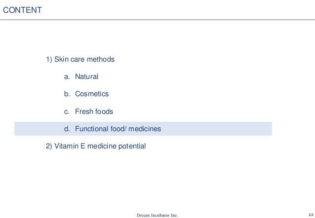 22 1) Skin care methods a. Natural b. Cosmetics c. Fresh foods d. Functional food/ medicines 2) Vitamin E medicine potenti...