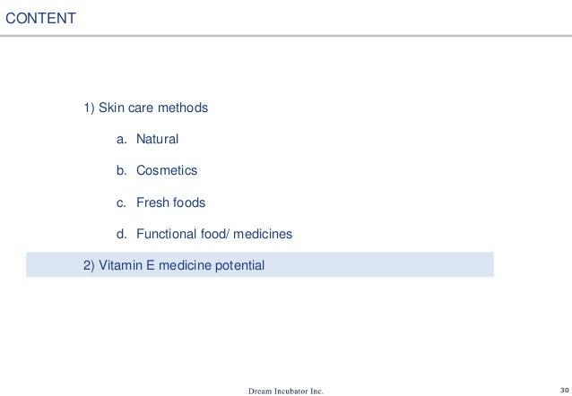 30 1) Skin care methods a. Natural b. Cosmetics c. Fresh foods d. Functional food/ medicines 2) Vitamin E medicine potenti...