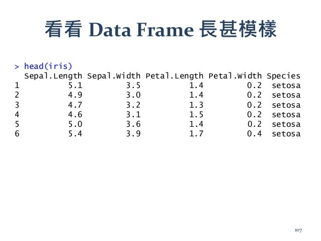 看看 Data Frame 長甚模樣 > head(iris) Sepal.Length Sepal.Width Petal.Length Petal.Width Species 1 5.1 3.5 1.4 0.2 setosa 2 4.9 3...