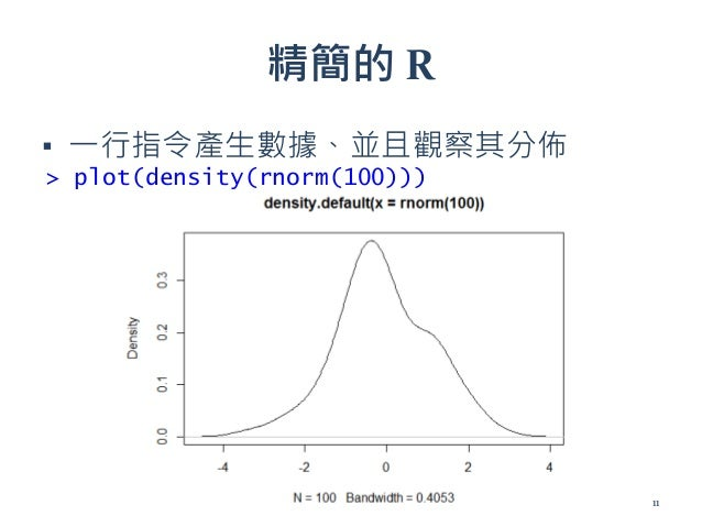 精簡的 R ▪ 一行指令產生數據、並且觀察其分佈 > plot(density(rnorm(100))) 11