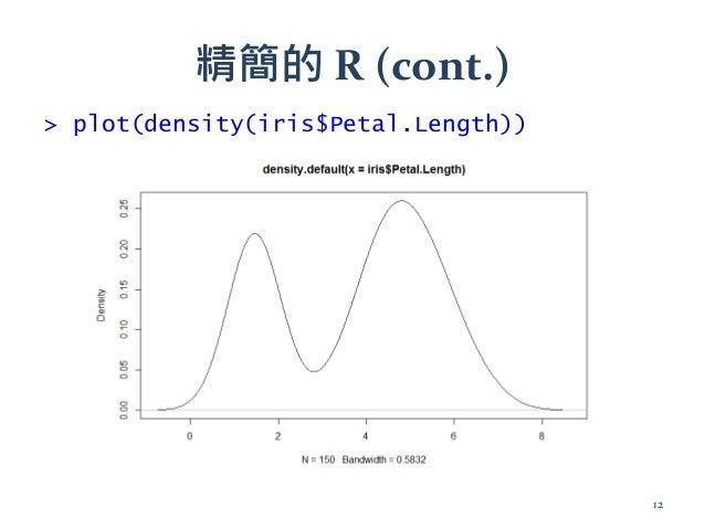 精簡的 R (cont.) > plot(density(iris$Petal.Length)) 12