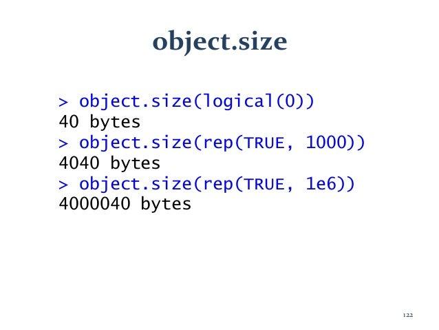 object.size > object.size(logical(0)) 40 bytes > object.size(rep(TRUE, 1000)) 4040 bytes > object.size(rep(TRUE, 1e6)) 400...