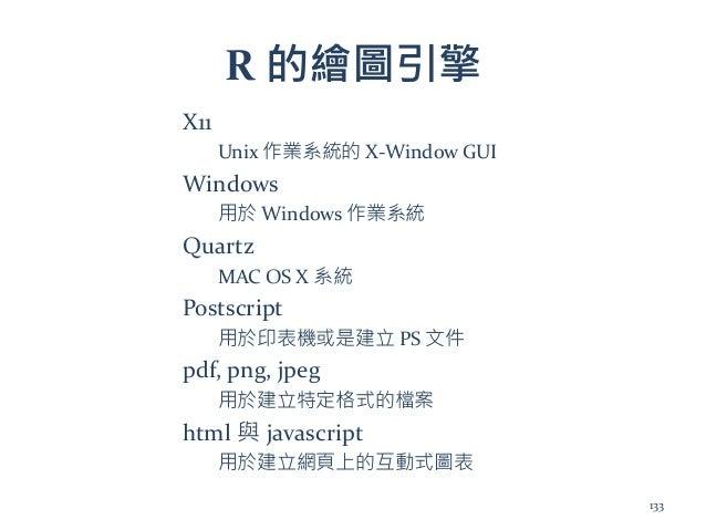 R 的繪圖引擎 X11 Unix 作業系統的 X-Window GUI Windows 用於 Windows 作業系統 Quartz MAC OS X 系統 Postscript 用於印表機或是建立 PS 文件 pdf, png, jpeg 用...