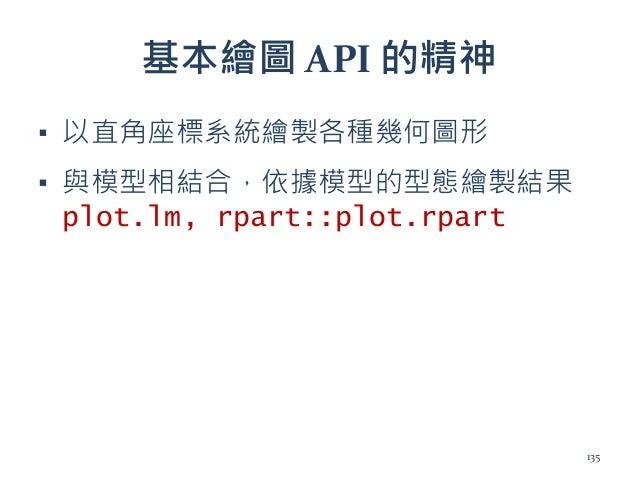 基本繪圖 API 的精神 ▪ 以直角座標系統繪製各種幾何圖形 ▪ 與模型相結合,依據模型的型態繪製結果 plot.lm, rpart::plot.rpart 135