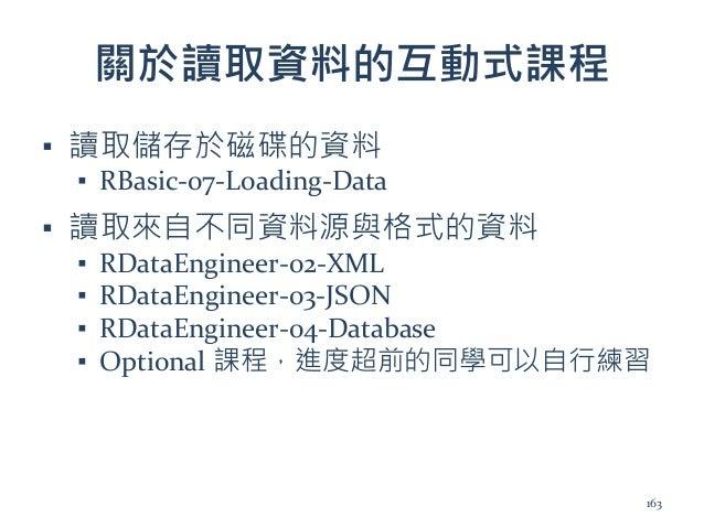 關於讀取資料的互動式課程 ▪ 讀取儲存於磁碟的資料 ▪ RBasic-07-Loading-Data ▪ 讀取來自不同資料源與格式的資料 ▪ RDataEngineer-02-XML ▪ RDataEngineer-03-JSON ▪ RDat...
