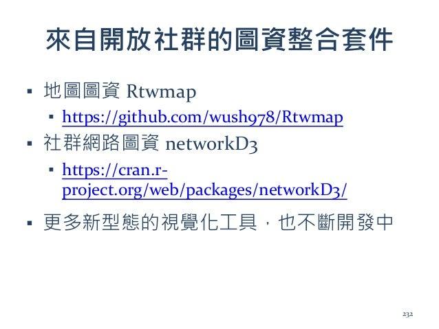 來自開放社群的圖資整合套件 ▪ 地圖圖資 Rtwmap ▪ https://github.com/wush978/Rtwmap ▪ 社群網路圖資 networkD3 ▪ https://cran.r- project.org/web/packa...