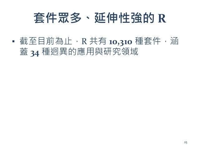 套件眾多、延伸性強的 R ▪ 截至目前為止,R 共有 10,310 種套件,涵 蓋 34 種迥異的應用與研究領域 25