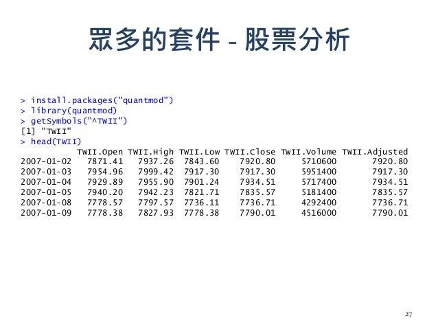 """眾多的套件 - 股票分析 > install.packages(""""quantmod"""") > library(quantmod) > getSymbols(""""^TWII"""") [1] """"TWII"""" > head(TWII) TWII.Open TW..."""