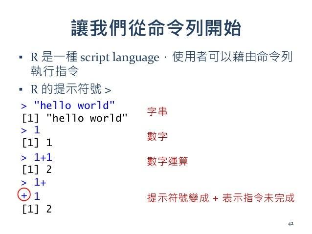 """讓我們從命令列開始 ▪ R 是一種 script language,使用者可以藉由命令列 執行指令 ▪ R 的提示符號 > > """"hello world"""" [1] """"hello world"""" > 1 [1] 1 > 1+1 [1] 2 > 1+..."""