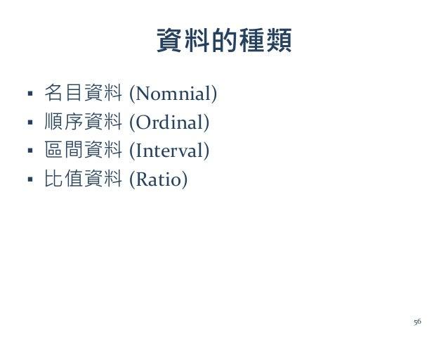 資料的種類 ▪ 名目資料 (Nomnial) ▪ 順序資料 (Ordinal) ▪ 區間資料 (Interval) ▪ 比值資料 (Ratio) 56