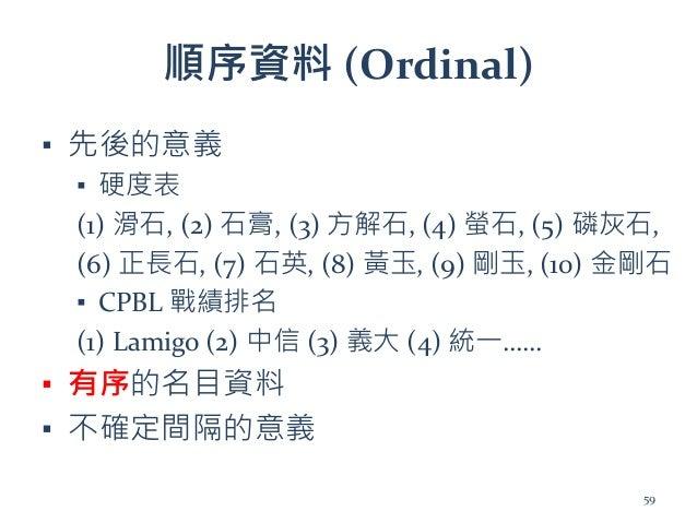 順序資料 (Ordinal) ▪ 先後的意義 ▪ 硬度表 (1) 滑石, (2) 石膏, (3) 方解石, (4) 螢石, (5) 磷灰石, (6) 正長石, (7) 石英, (8) 黃玉, (9) 剛玉, (10) 金剛石 ▪ CPBL 戰績...
