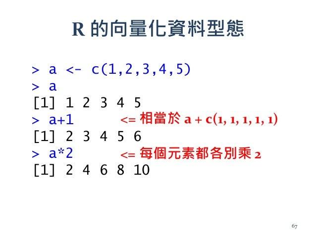 R 的向量化資料型態 <= 相當於 a + c(1, 1, 1, 1, 1) <= 每個元素都各別乘 2 > a <- c(1,2,3,4,5) > a [1] 1 2 3 4 5 > a+1 [1] 2 3 4 5 6 > a*2 [1] 2...