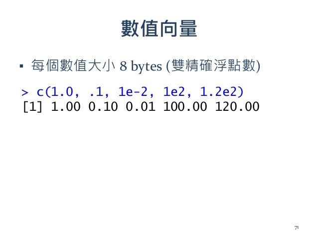 數值向量 ▪ 每個數值大小 8 bytes (雙精確浮點數) > c(1.0, .1, 1e-2, 1e2, 1.2e2) [1] 1.00 0.10 0.01 100.00 120.00 71