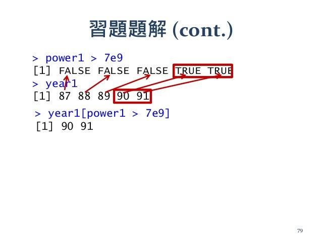 習題題解 (cont.) > power1 > 7e9 [1] FALSE FALSE FALSE TRUE TRUE > year1 [1] 87 88 89 90 91 > year1[power1 > 7e9] [1] 90 91 79