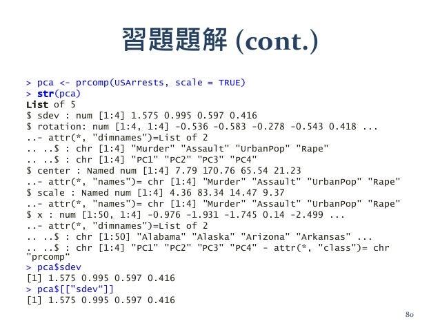 習題題解 (cont.) > pca <- prcomp(USArrests, scale = TRUE) > str(pca) List of 5 $ sdev : num [1:4] 1.575 0.995 0.597 0.416 $ ro...