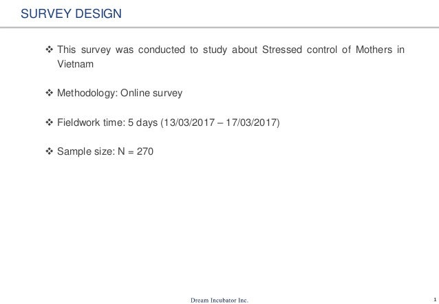 1 SURVEY DESIGN  This survey was conducted to study about Stressed control of Mothers in Vietnam  Methodology: Online su...
