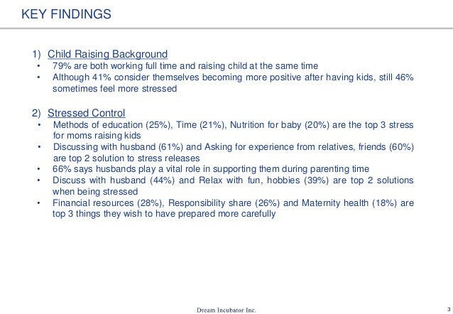 3 KEY FINDINGS 1) Child Raising Background • 79% are both working full time and raising child at the same time • Although ...