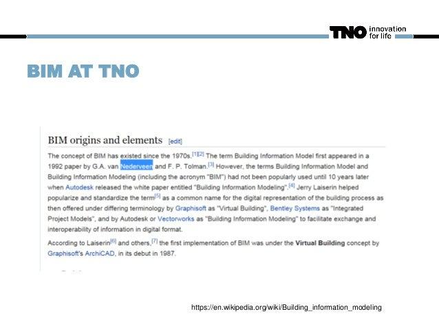 BIM AT TNO https://en.wikipedia.org/wiki/Building_information_modeling