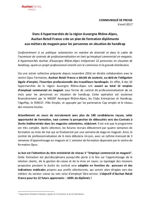 COMMUNIQUÉ DE PRESSE 6 avril 2017 Dans 6 hypermarchés de la région Auvergne Rhône-Alpes, Auchan Retail France crée un plan...