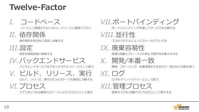 10 Twelve-Factor I. コードベース バージョン管理される1つのコードベースと複数デプロイ II. 依存関係 依存関係を明示的に宣言し分離する III.設定 設定を環境変数に格納する IV.バックエンドサービス バックエンドサー...