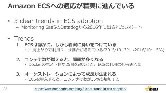 28 Amazon ECSへの適応が着実に進んでいる • 3 clear trends in ECS adoption – Monitoring SaaSのDatadogから2016年に出されたレポート • Trends 1. ECSは静かに、...