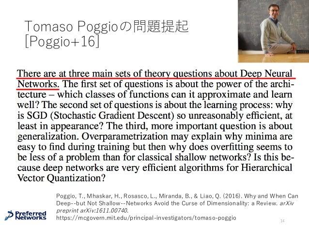 Tomaso Poggioの問題提起 [Poggio+16] 14 Poggio, T., Mhaskar, H., Rosasco, L., Miranda, B., & Liao, Q. (2016). Why and When Can D...