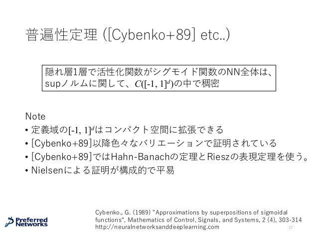 普遍性定理 ([Cybenko+89] etc..) Note • 定義域の[-1, 1]dはコンパクト空間に拡張できる • [Cybenko+89]以降⾊々なバリエーションで証明されている • [Cybenko+89]ではHahn-Banac...