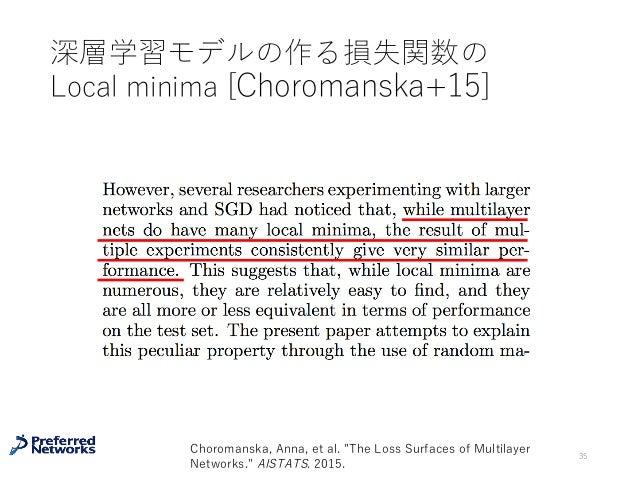 """深層学習モデルの作る損失関数の Local minima [Choromanska+15] 35 Choromanska, Anna, et al. """"The Loss Surfaces of Multilayer Networks."""" AIS..."""