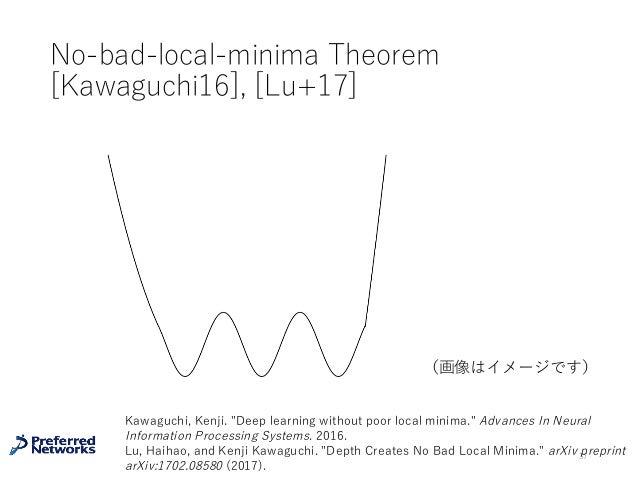"No-bad-local-minima Theorem [Kawaguchi16], [Lu+17] 37 (画像はイメージです) Kawaguchi, Kenji. ""Deep learning without poor local mini..."