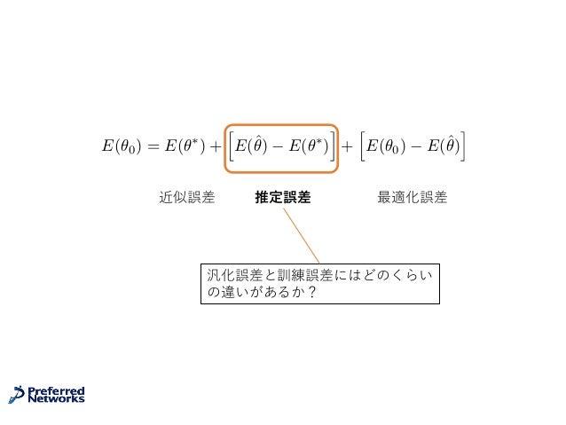 近似誤差 推定誤差 最適化誤差 E(✓0) = E(✓⇤ ) + h E(ˆ✓) E(✓⇤ ) i + h E(✓0) E(ˆ✓) i 汎化誤差と訓練誤差にはどのくらい の違いがあるか?