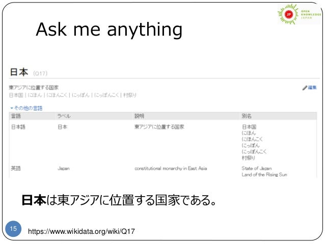 15 Ask me anything https://www.wikidata.org/wiki/Q17 日本は東アジアに位置する国家である。