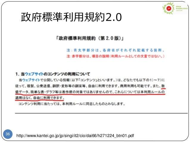 36 政府標準利用規約2.0 http://www.kantei.go.jp/jp/singi/it2/cio/dai66/h271224_btn01.pdf