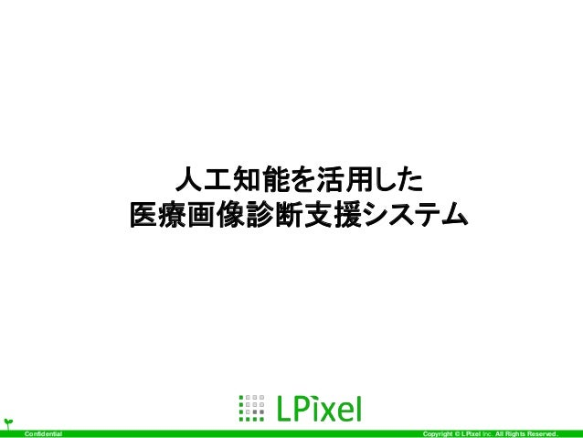 Confidential Copyright © LPixel Inc. All Rights Reserved. 人工知能を活用した 医療画像診断支援システム