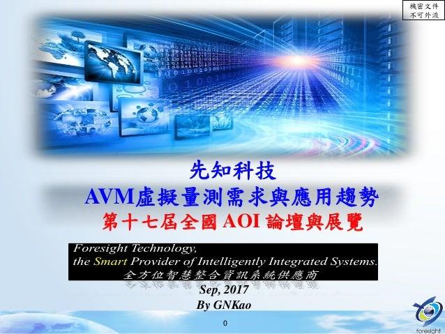 機密文件 不可外流 0 先知科技 AVM虛擬量測需求與應用趨勢 第十七屆全國 AOI 論壇與展覽 Sep, 2017 By GNKao