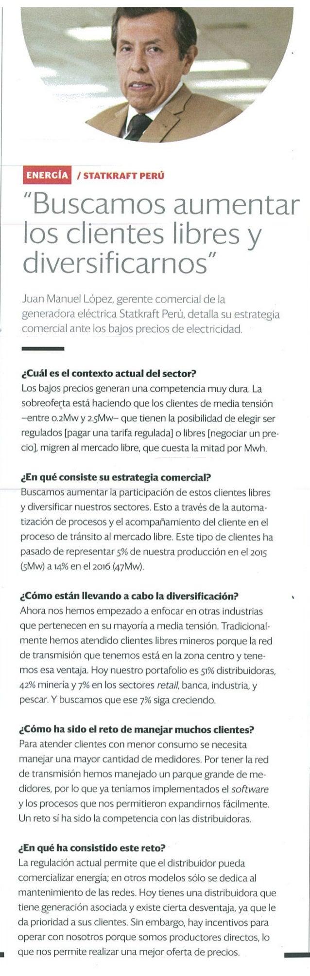 Diversificación de clientes, la estrategia de Statkraft Perú