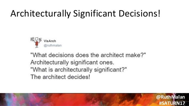 """@RuthMalan #SATURN17 """"If you think good architecture is expensive, try bad architecture"""" – Brian Foote"""