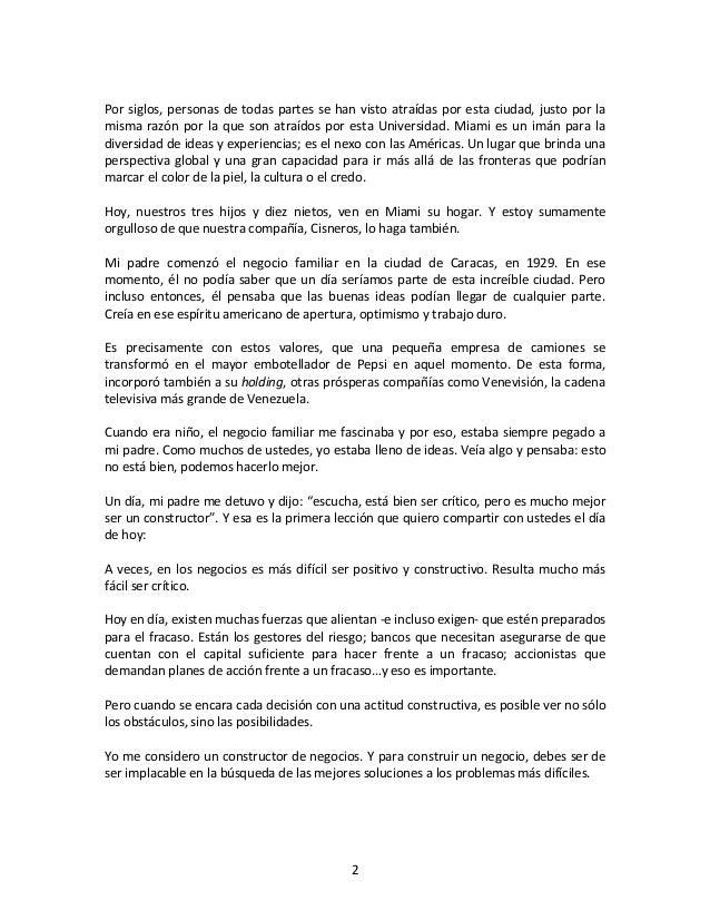 Discurso Gustavo Cisneros en la Universidad de Miami Slide 2